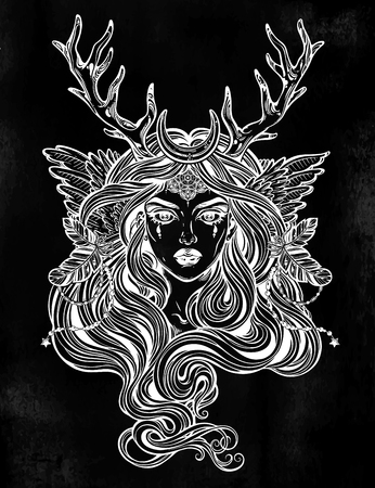 Shaman elf magic woman with deer antlerss and long hair. Alchemy, tattoo art, t-shirt design, adult coloring book page. Isolated vector on white background. Pagan goddess, mythical character. Illustration