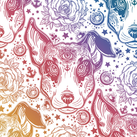 Vintage style traditional tattoo flash terrier dog seamless doodle pattern. 矢量图像