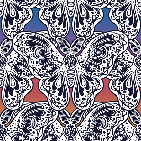 Seamless pattern of butterflies or moths. Repetition background of fantasy style ornate insects Çizim