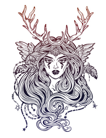 Shaman elf magic woman with deer antlerss and long hair.