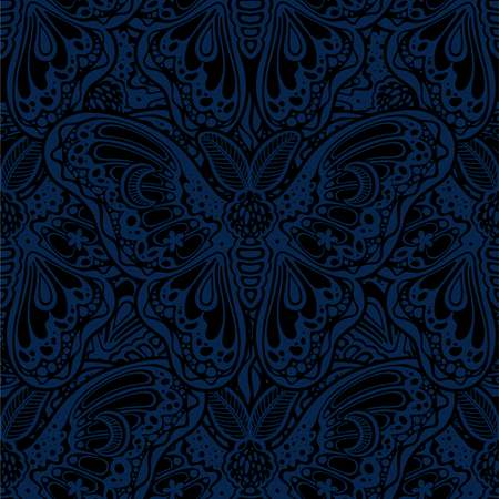 Seamless pattern of butterflies or moths. Repetition background of fantasy style ornate insects Иллюстрация