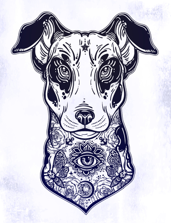 Vintage style Bull terrier in flash art tattoos. 矢量图像