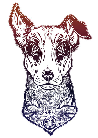 Vintage style Bull terrier in flash art tattoos. Vettoriali