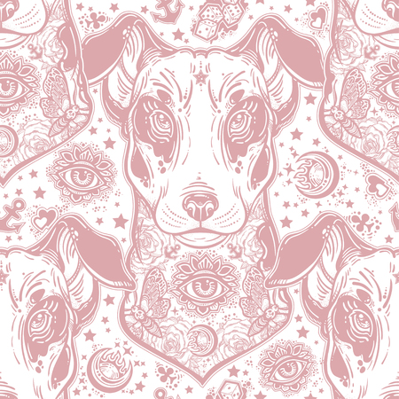 Vintage style traditional tattoo flash terrier dog seamless doodle pattern. Standard-Bild - 102314764