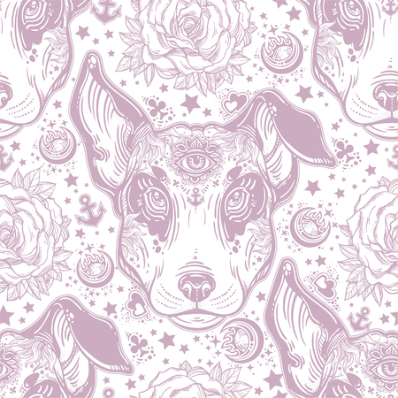 Vintage style traditional tattoo flash terrier dog seamless doodle pattern. Trendy stylish texture. Repeating old school tile, artwork for print and textiles. Isolated vector illustration. Standard-Bild - 102331122