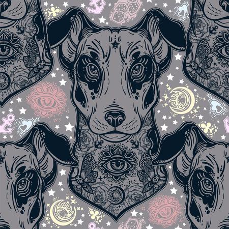 Vintage style traditional tattoo flash terrier dog seamless doodle pattern. Illusztráció