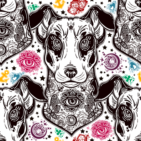 Vintage style traditional tattoo flash terrier dog seamless doodle pattern. Illustration