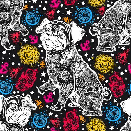 Vintage style traditional tattoo flash bulldog or pug dog seamless doodle pattern. Illusztráció