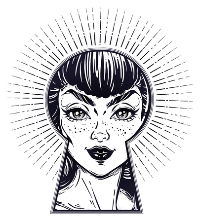 Beautiful girl peeping through the keyhole. Boho style detective art. Imagination, curiosity concept. Isolated vector illustration. Vintage, t-shirt, secrets, tattoo, coloring books. Trendy print Stock Illustratie