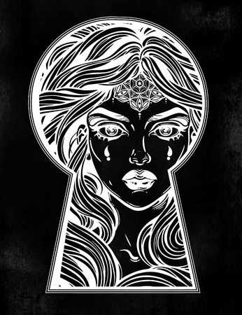 Beautiful girl peeping through the keyhole. Boho style detective art.