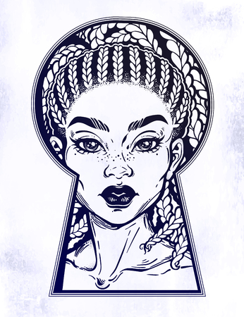 Beautiful African girl peeping through the keyhole. Boho style detective art.