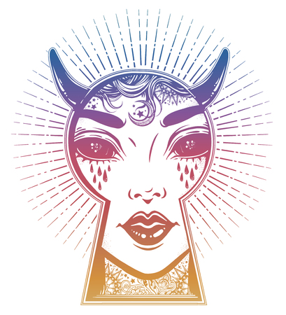 Occult devil woman peeping through the keyhole. Boho style mystery art. Illustration