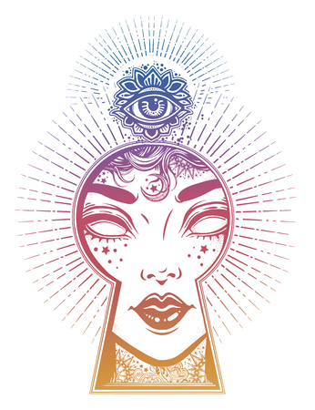 Occult psychic woman seeing world of unreal through the keyhole. Boho style mystery art.