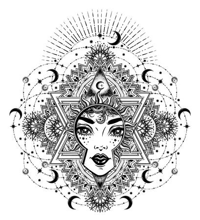 Beautiful divine sun goddess girl with ornate halo Illustration