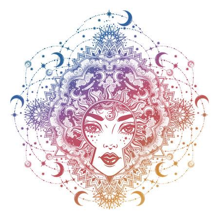 Beautiful divine sun goddess girl with ornate halo Stok Fotoğraf