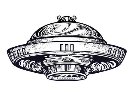 Space ship UFO. Vector isolated illustration. Illustration