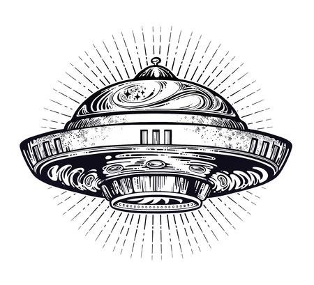 Space ship UFO. Vector isolated illustration. Stock Illustratie