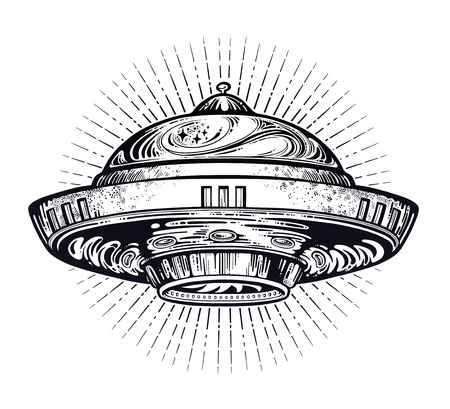 Space ship UFO. Vector isolated illustration.  イラスト・ベクター素材