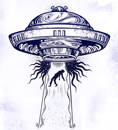 Fantastic Alien Spaceship. UFO abduction of a human with flying saucer icon. 矢量图像