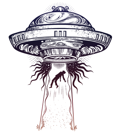 Fantastic Alien Spaceship. UFO abduction of a human with flying saucer icon. Illustration