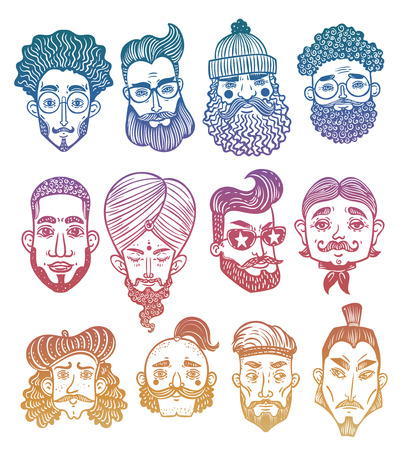 Set of men faces of differen with different ethnics haircuts, mustaches, beards. No shave November.