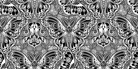 Seamless pattern of butterflies or moths. Repetition background of fantasy style ornate insects Vettoriali