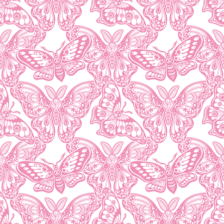 Seamless pattern of butterflies or moths. Repetition background of fantasy style ornate insects Illustration