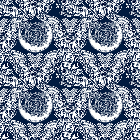Seamless pattern of butterflies or moths. Repetition background of fantasy style ornate insects Banque d'images