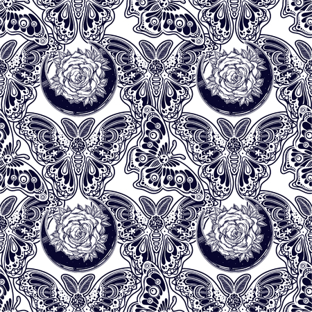 Seamless pattern of butterflies or moths. Repetition background of fantasy style ornate insects. Isolated vector illustration. Magic wallpaper art, coloring, nature and spirituality. Vintage print.