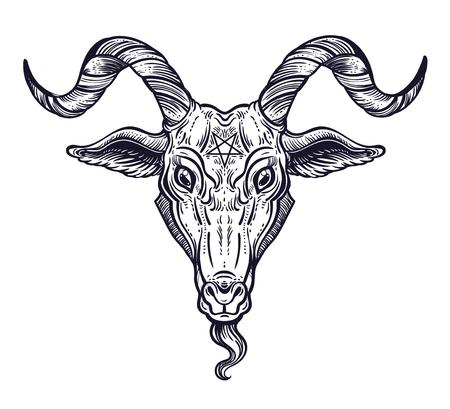 Pentagram in the head of demon Baphomet. Satanic goat head. Binary satanic symbol.  イラスト・ベクター素材