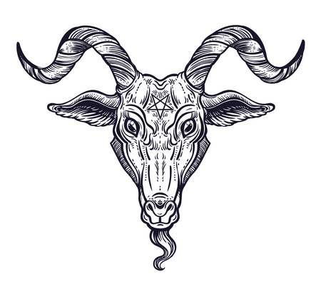 Pentagram in the head of demon Baphomet. Satanic goat head. Binary satanic symbol. 矢量图像