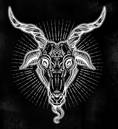 Pentagram in the head of demon Baphomet. Satanic goat head. Binary satanic symbol. Illustration