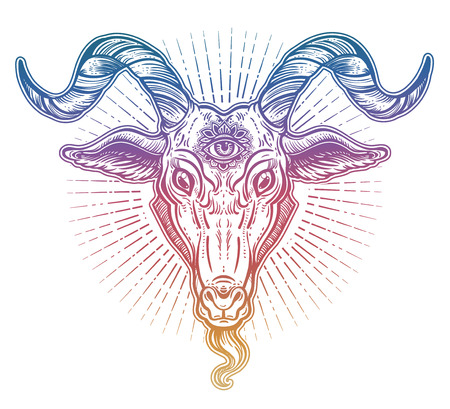 Demon goat Baphomet with sacred occult eye. Satanic goat head. Binary satanic symbol. Stock fotó - 102471087