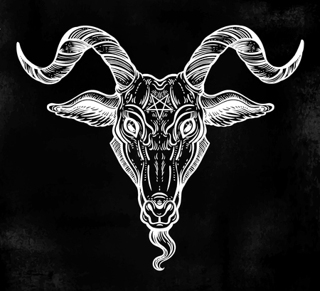 Pentagram in the head of demon Baphomet. Satanic goat head. Binary satanic symbol.  イラスト・ベクター素材