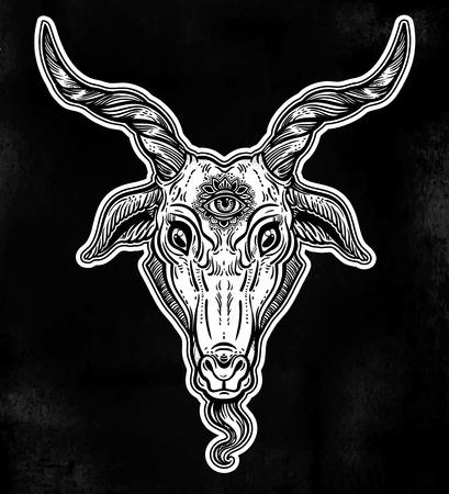 Demon Goat Baphomet With Sacred Occult Eye Satanic Goat Head