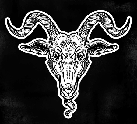 Pentagram in the head of demon Baphomet. Satanic goat head. Binary satanic symbol. Illustration
