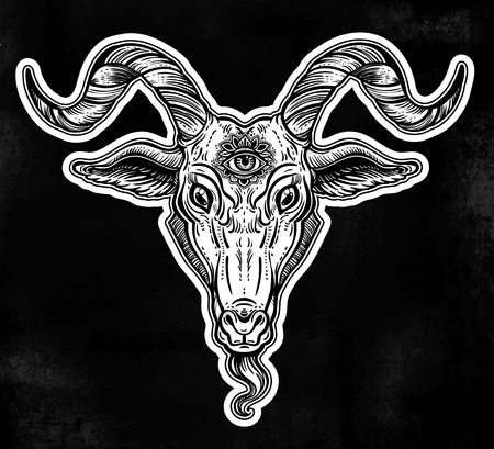 Demon goat Baphomet with sacred occult eye. Satanic goat head. Binary satanic symbol.