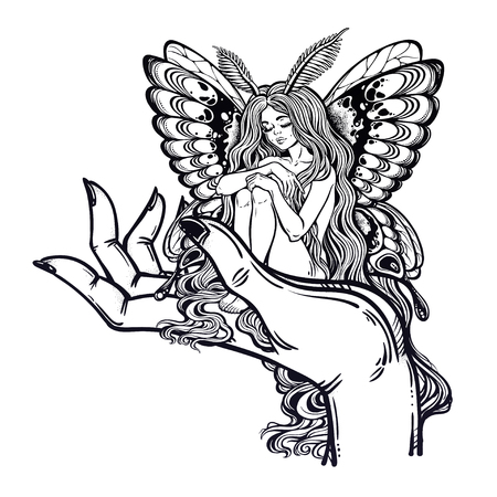 Fairytale character Thumbelina siting on the big human hand. Moth girl butterfly with long hair. Illustration