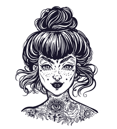 Inked woman portrait with vintage bun hair made, flash tattooed beautiful girl face with freckles.