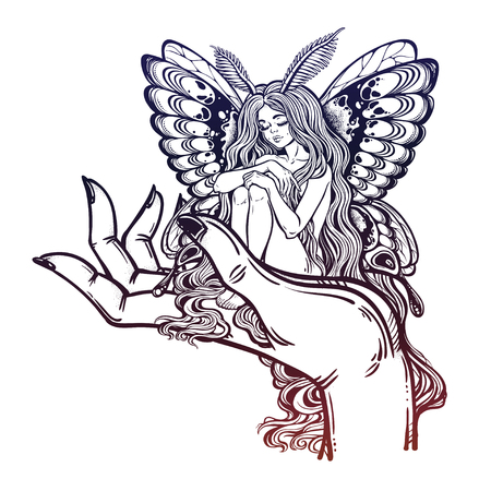 Fairytale character Thumbelina siting on the big human hand. Moth girl butterfly with long hair. Vettoriali