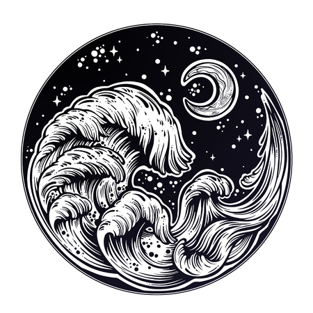 Hand drawn water waves in the night stormy sea with moon line art drawing.