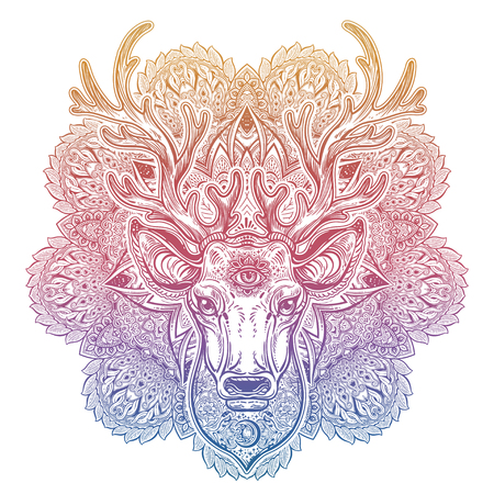 Ornate Deer head with beautiful antlers and sacred eye and decorative mandala.