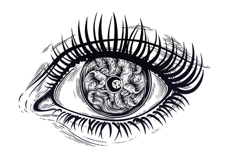 Realistic eye with highly detialed water waves in the night stormy sea with moon line art drawing.