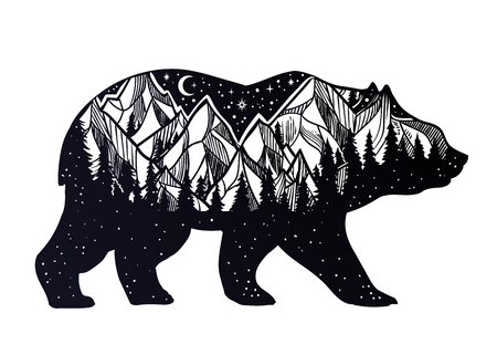 Bear and night forest mountain landscape, double exposure, wildlife tattoo art, fantasy style. Vector isolated illustration. 版權商用圖片 - 102816960