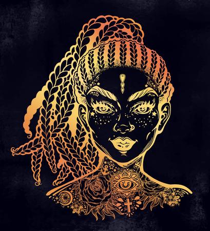 Inked Hispanic Latin or African American pretty girl, decorative neck flash tattoo.