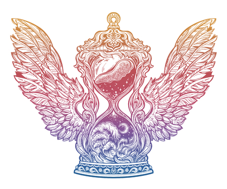 Decorative antique winged hourglass with waves of time illustration. Sand clock isolated vector art. Illustration