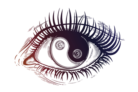 Beautiful eye with pupil as Yin and Yang symbol. Иллюстрация