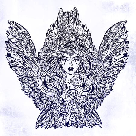 Angel magic woman with wings and long hair. 写真素材 - 102866129