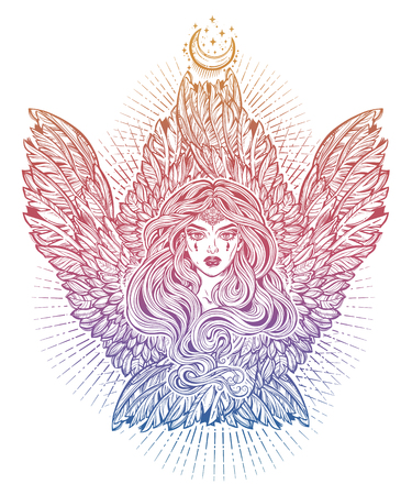 Angel magic woman with wings and long hair. Illustration