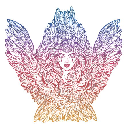 Angel magic woman with wings and long hair. 写真素材 - 102866135